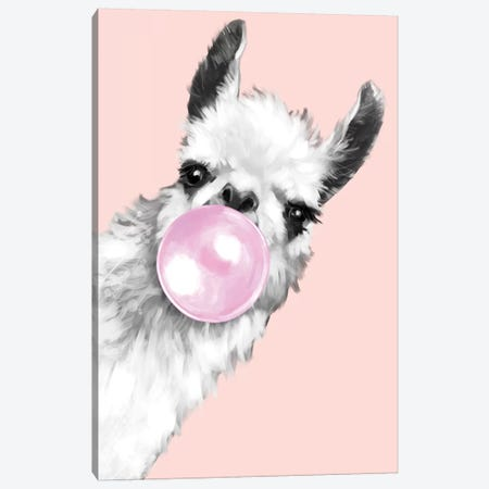 Sneaky Llama Blowing Bubble Gum In Pink Canvas Print #BNW26} by Big Nose Work Canvas Artwork