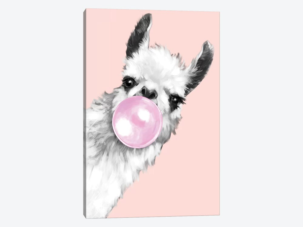 Sneaky Llama Blowing Bubble Gum In Pink by Big Nose Work 1-piece Art Print