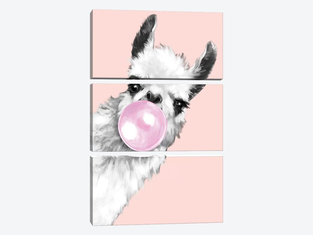 Sneaky Llama Blowing Bubble Gum In Pink by Big Nose Work 3-piece Art Print