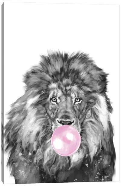 Lion Blowing Bubble Gum Black and White Canvas Art Print