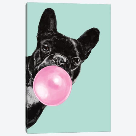 Sneaky Bulldog Blowing Bubble Gum in green Canvas Print #BNW29} by Big Nose Work Canvas Print