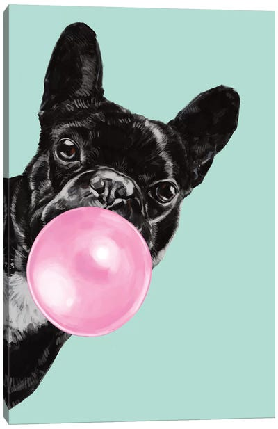 Sneaky Bulldog Blowing Bubble Gum in green Canvas Art Print
