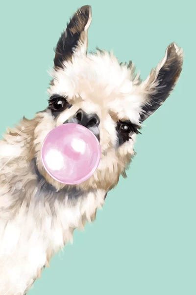 Sneaky Llama Blowing Bubble Gum In Green Canva Big