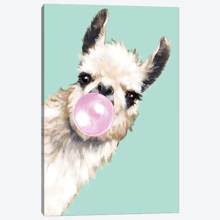 Sneaky Llama Blowing Bubble Gum In Green Canvas Print #BNW31} by Big Nose Work Canvas Art