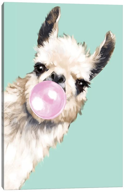 Sneaky Llama Blowing Bubble Gum In Green Canvas Art Print