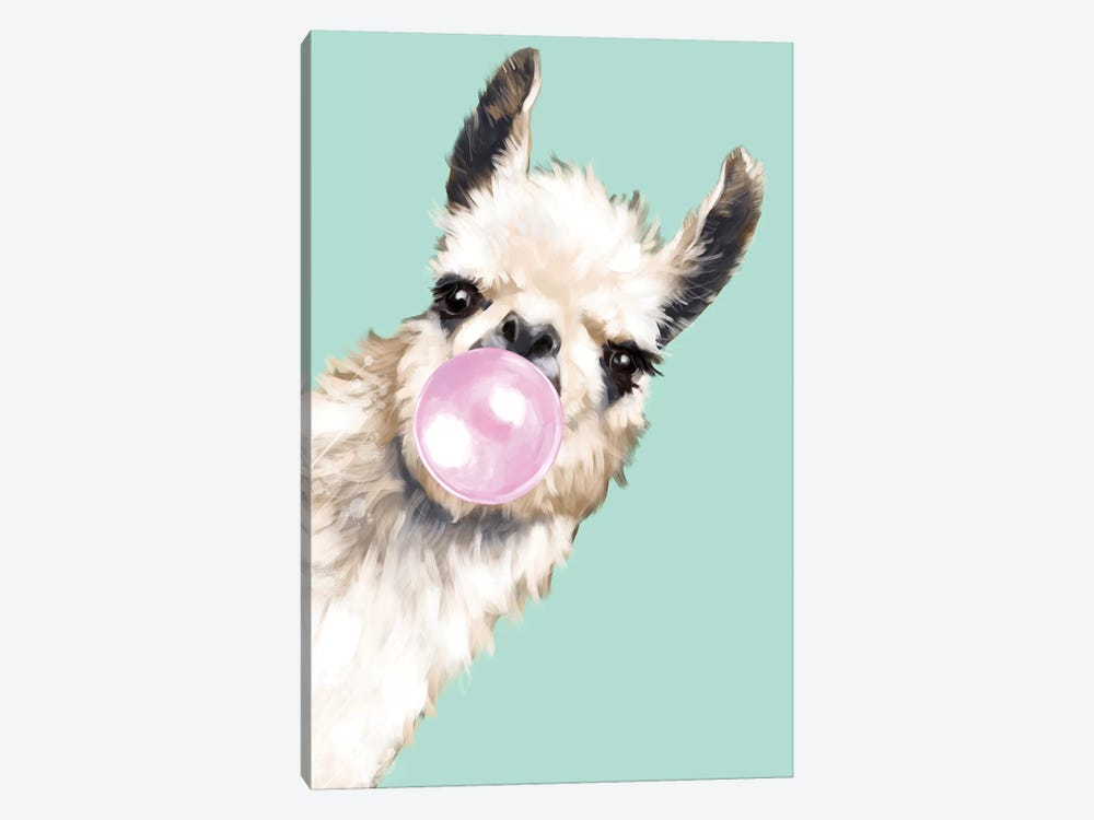 Sneaky Llama Blowing Bubble Gum In Green by Big Nose Work 1-piece Canvas Print