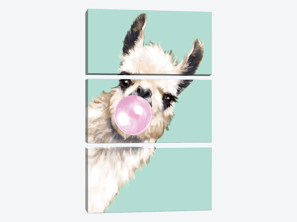 Sneaky Llama Blowing Bubble Gum In Green by Big Nose Work 3-piece Canvas Print