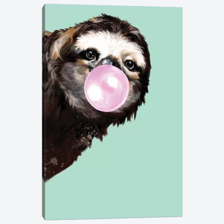 Sneaky Sloth Blowing Bubble Gum In Green Canvas Print #BNW32} by Big Nose Work Canvas Wall Art