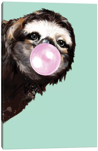 Sneaky Sloth Blowing Bubble Gum In Green Canvas Art Print