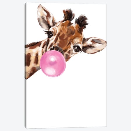 Sneaky Giraffe Blowing Bubble Gum Canvas Print #BNW33} by Big Nose Work Canvas Wall Art