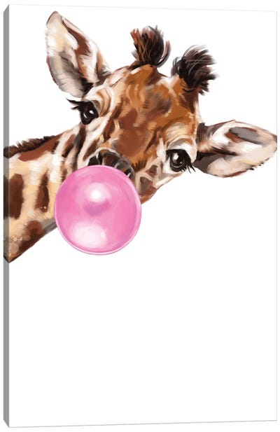 Sneaky Giraffe Blowing Bubble Gum Canvas Art Print