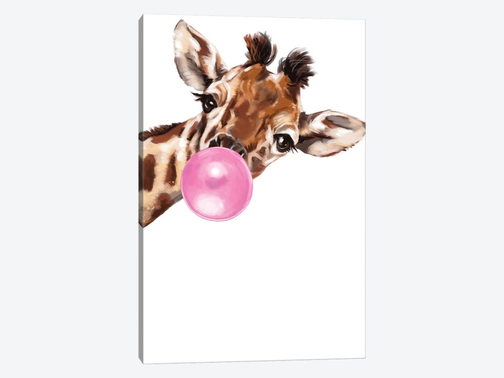 Sneaky Giraffe Blowing Bubble Gum by Big Nose Work 1-piece Art Print