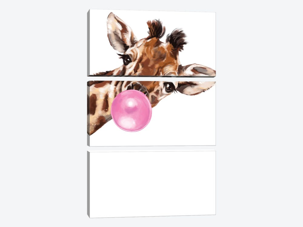 Sneaky Giraffe Blowing Bubble Gum by Big Nose Work 3-piece Art Print