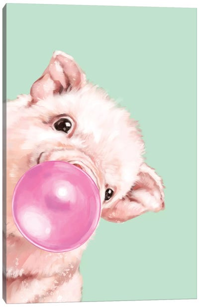 Sneaky Baby Pig Blowing Bubble Gum in Green Canvas Art Print
