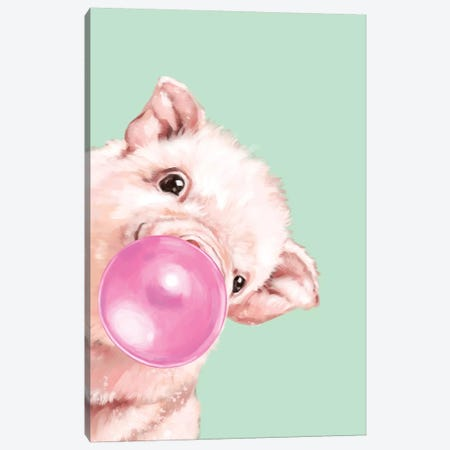 Sneaky Baby Pig Blowing Bubble Gum in Green Canvas Print #BNW34} by Big Nose Work Art Print