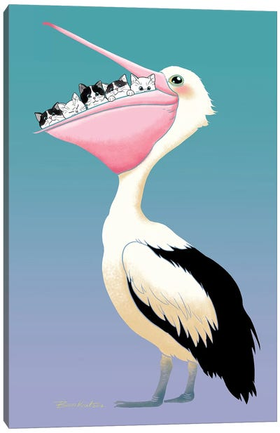 Cats And Pelican Friendship Canvas Art Print