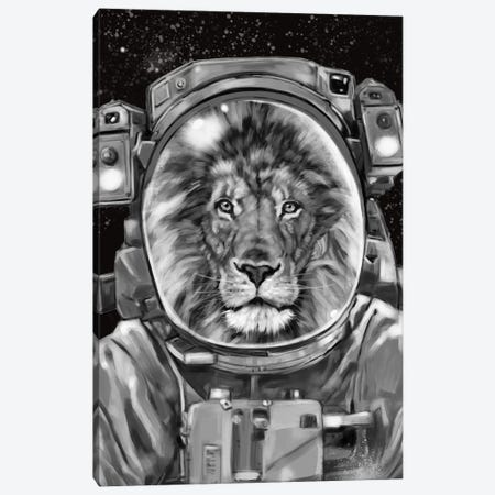 Astronaut Lion Selfie Canvas Print #BNW3} by Big Nose Work Canvas Art