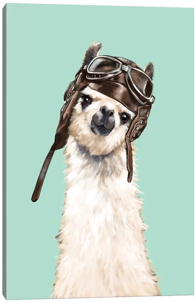 Cool Pilot Llama Canvas Art Print