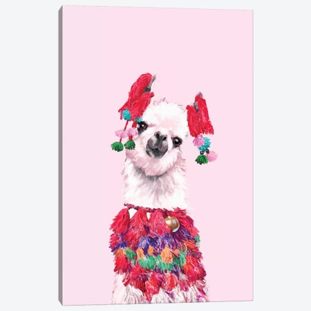 Coolest Llama Canvas Print #BNW42} by Big Nose Work Art Print