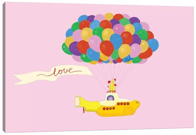 Happy Fly with Yellow Submarine Canvas Art Print