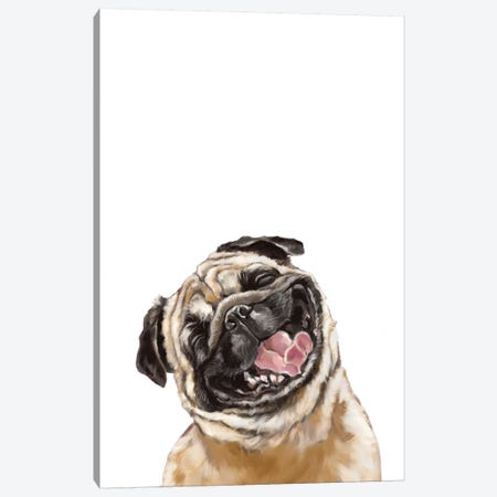 Happy Laughing Pug Canvas Print #BNW46} by Big Nose Work Canvas Artwork
