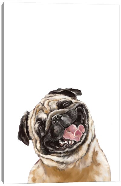 Happy Laughing Pug Canvas Art Print