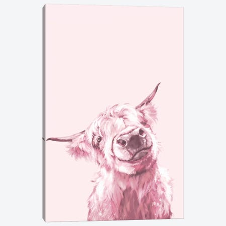 Highland Cow In Pink Canvas Print #BNW47} by Big Nose Work Canvas Artwork