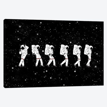 Astronaut Love Moonwalk Canvas Print #BNW4} by Big Nose Work Art Print