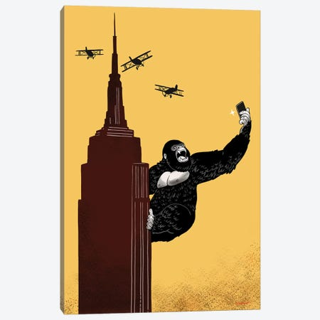 King Kong Love To Selfie Canvas Print #BNW51} by Big Nose Work Canvas Wall Art