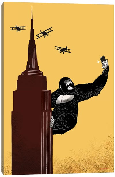 King Kong Love To Selfie Canvas Art Print