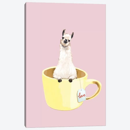 Llama In Cup Canvas Print #BNW55} by Big Nose Work Canvas Print