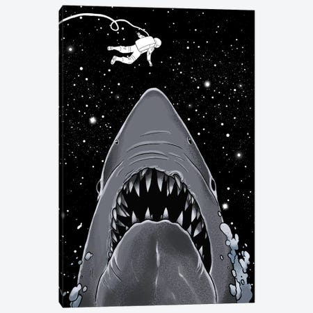Astronaut Meets Jaws Canvas Print #BNW5} by Big Nose Work Canvas Art Print