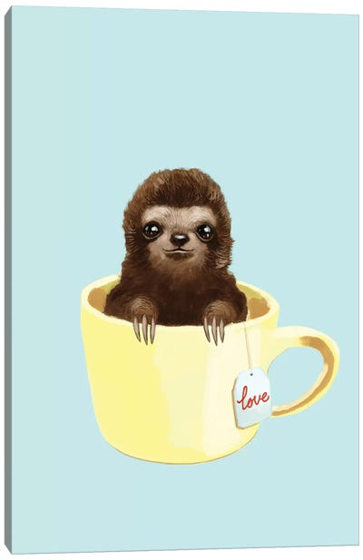 Love Sloth Canvas Art Print