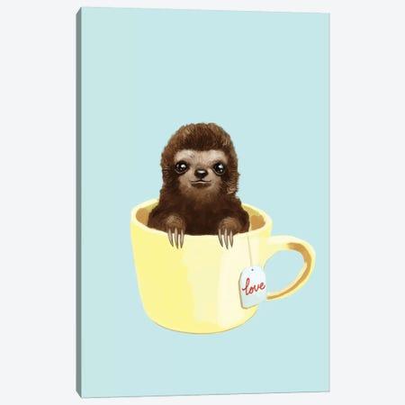 Love Sloth Canvas Print #BNW60} by Big Nose Work Art Print