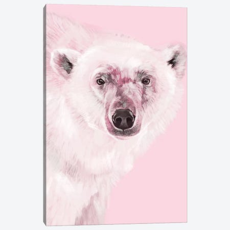 Polar Bear In Pink Canvas Print #BNW64} by Big Nose Work Canvas Art