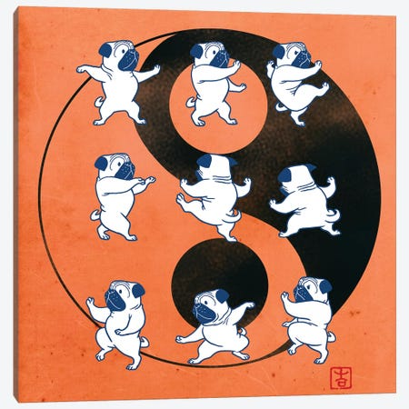 Pug Tai Chi  Canvas Print #BNW65} by Big Nose Work Canvas Artwork