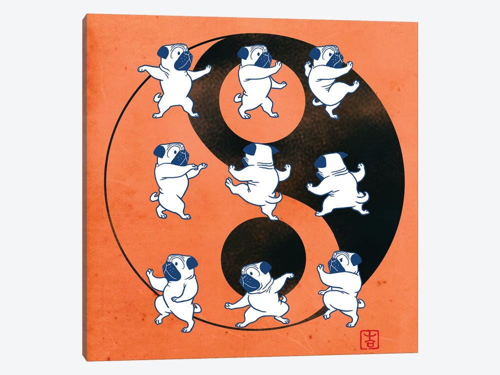 Pug Tai Chi  by Big Nose Work 1-piece Canvas Art