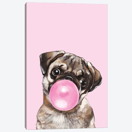 Pug Blowing Bubble Gum In Pink Canvas Print #BNW67} by Big Nose Work Canvas Wall Art