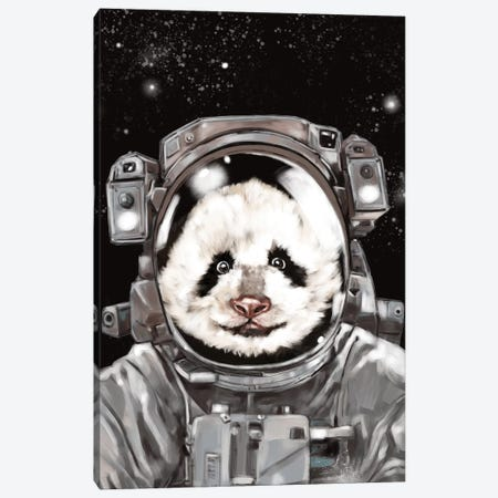 Astronaut Panda Selfie Canvas Print #BNW6} by Big Nose Work Canvas Art Print