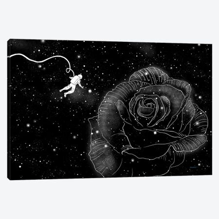 Rose In Space Canvas Print #BNW70} by Big Nose Work Canvas Wall Art