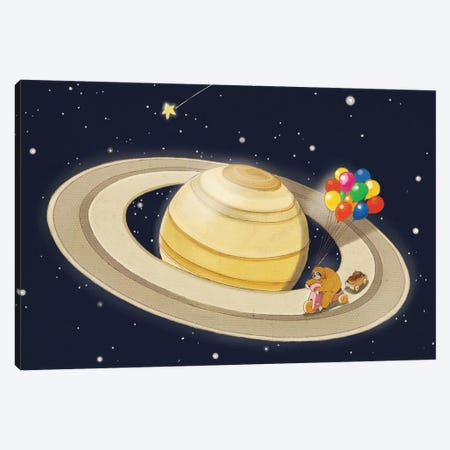 Sloth Happy Ride on Saturn Canvas Print #BNW75} by Big Nose Work Canvas Print