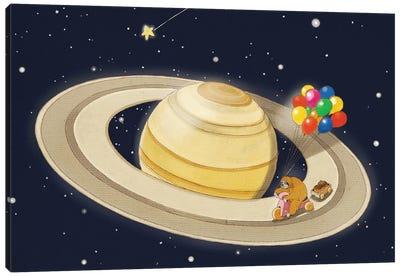 Sloth Happy Ride on Saturn Canvas Art Print