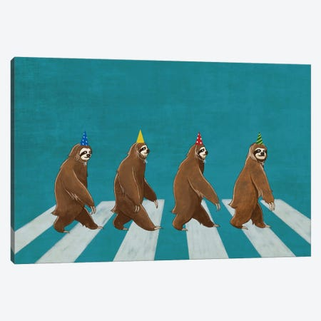 Sloth Abbey Road Canvas Print #BNW76} by Big Nose Work Canvas Art Print