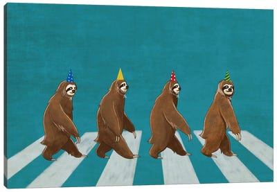 Sloth Abbey Road Canvas Art Print