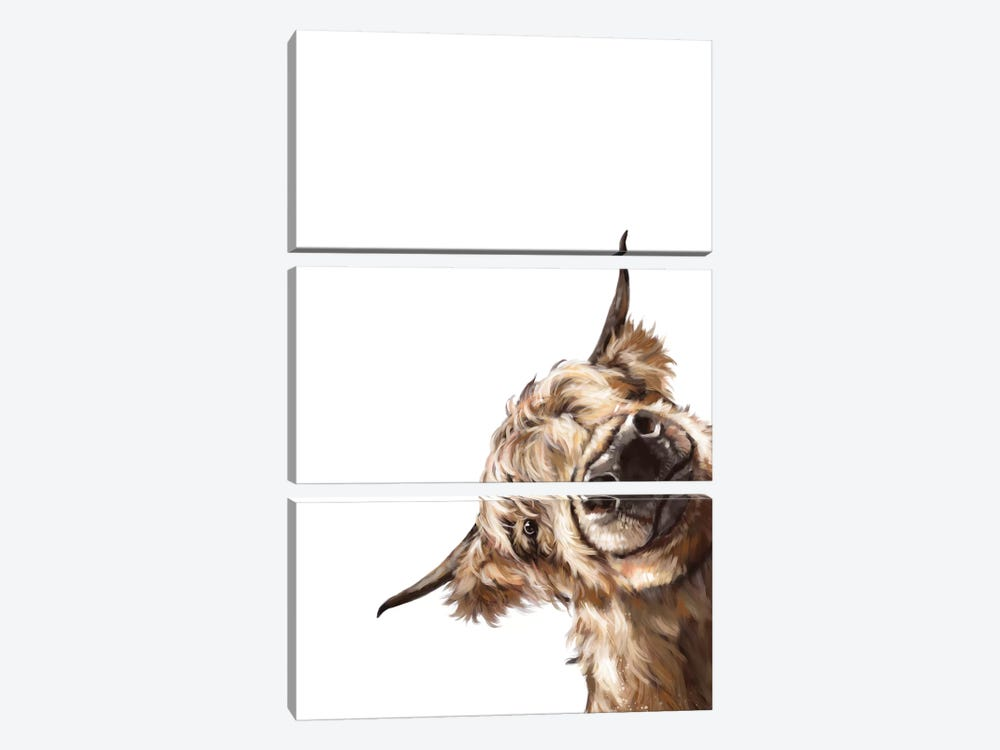 Sneaky Highland Cow by Big Nose Work 3-piece Canvas Wall Art