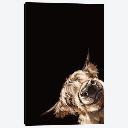Sneaky Highland Cow In Black Canvas Print #BNW79} by Big Nose Work Canvas Artwork