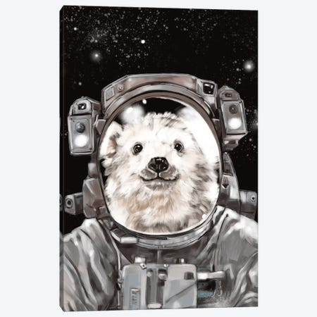Astronaut Polar Bear Selfie Canvas Print #BNW7} by Big Nose Work Canvas Art Print