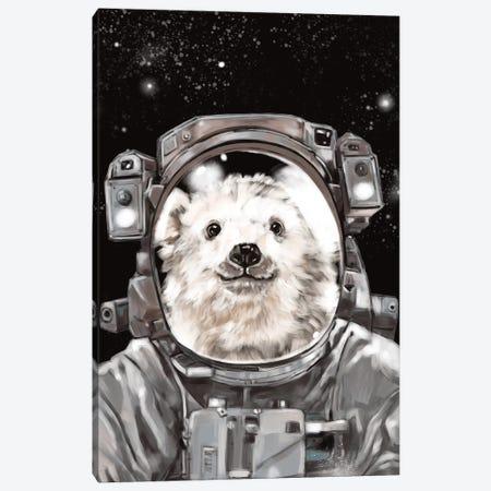 Astronaut Polar Bear Selfie Canvas Print #BNW7} by Big Nose Work Canvas Art Print