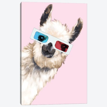 Sneaky Llama with 3D Glasses In Pink Canvas Print #BNW80} by Big Nose Work Canvas Print