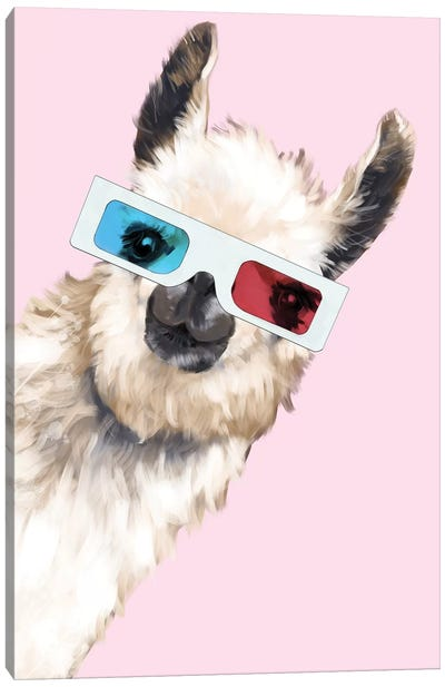 Sneaky Llama with 3D Glasses In Pink Canvas Art Print